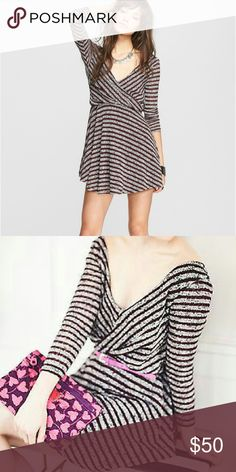 Nwt Free People Maverick striped sweater dress XS Super cute swingy striped dress in eggplant/gray combo!  Adorable style with high boots! Free People Dresses Mini