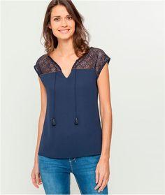 T-shirt brodé Femme - Gris clair - Tops   T-shirts - Femme - Promod ... efacf1f8577