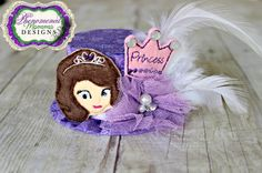 Sofia The First Inspired Mini Top Hat Birthday Hat by ShopPMD, $23.00