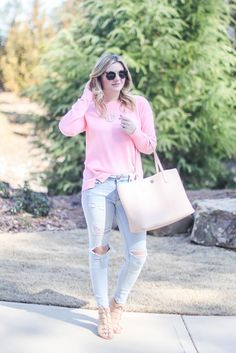 Spring pink, lace up heels, blush, monogrammed necklace, preppy, summer outfit ideas.