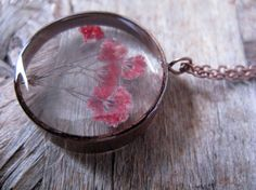 Red Baby's Breath Resin Pendant Necklace Real by ScrappinCop
