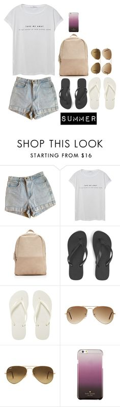 """""""Summer"""" by tiffanybertharia-fanbert on Polyvore featuring American Apparel, MANGO, Havaianas, Ray-Ban, Kate Spade and Summer"""