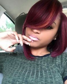 Side bangs bob hairstyles wigs for black women