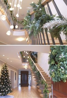 Our recent holiday decor install at one of our recently completed projects. Loads of mixed greens with feathery sparkles we wove in. Holiday Wreaths, Holiday Decorating, Future House, Sparkles, Blogging, Deck, Posts, Big, Green