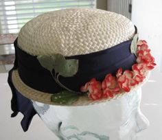 Vintage Ivory Straw Hat with Red and Ivory by paprikarose on Etsy, $18.00