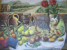 Olio su tela, 100cm x 70cm. Natura morta e paesaggio. #art #sicily #naturamorta #paesaggio #frutta #stilllife #landscape