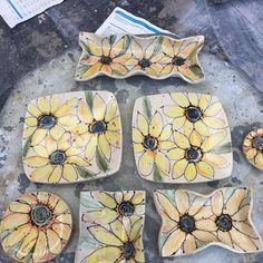 Bringing a little summer into the studio today. #handpainted #pottery #sunflowers #underglazes.