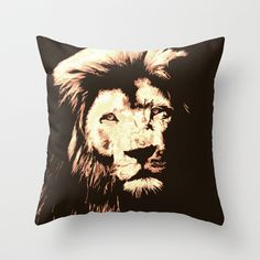 Lion Throw Pillow by Paula Belle Flores - $20.00