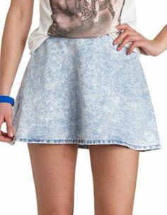acid wash chambray skater skirt