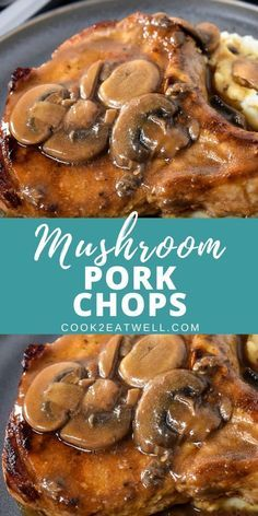 In this recipe, thick pork chops are fried until golden, then they're covered with a luxurious mushroom sauce. Serve the pork chops with fluffy mashed potatoes a delicious meal. Easy Pork Chop Recipes, Crockpot Recipes, Cooking Recipes, Recipes Using Pork Chops, Steamed Pork Chops Recipe, Pok Chop Recipes, Pork Cubes Recipes, Chicken Chop Recipe, Thick Pork Chop Recipe