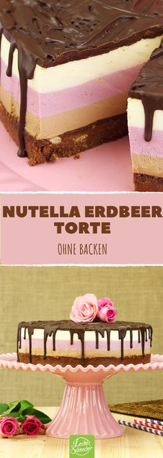 Cakes cake The post 3 layers 3 colors 3 flavors: Nutella strawberry cake. Cake appeared first on Orchid Dessert. Berry Smoothie Recipe, Easy Smoothie Recipes, Easy Cake Recipes, Snack Recipes, Dessert Recipes, Cookies Roses, Coconut Milk Smoothie, Homemade Frappuccino, Pumpkin Spice Cupcakes