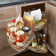 Swing-out shelves in corner cabinet instead of lazy Susan
