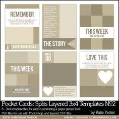 Pocket Cards: Splits 3x4 Layered Templates No. 02 - Digital Scrapbooking