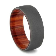 Tulip Wood Wedding Band with Sandblasted Titanium Finish, Wood Wedding Ring