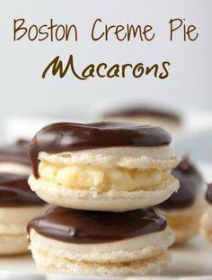 Boston Crème Pie Macarons - Boston Girl Bakes