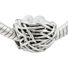 $12.49 This Pearl Nest Gorgeous Pugster Bead Pandora Charms Compatible Bead is compatible with Pandora bracelets, and interchangeable with Pandora charms / beads! Made of pewter plated with silver, will stand up beautifully to the test of time and wear. All Pugster beads compatible with Pandora, Biagi, Chamilia, and Oriana beads! NOTE: Pictured chain is not included.