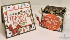 thank you card and gift box using Stampin' Up! stamp sets; thankful forest friends stamp set and among the branches stamp set; Christine's Stamping Spot