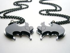 Best Friends Batman Necklace - Friendship Necklaces- Laser Cut Black and Mirror Acrylic - Heart