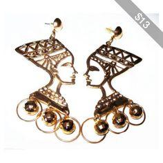 "Cleopatra Pierced Earrings Post Backs Gold Metal Dangling Balls 3.5"" Vintage 1980s"