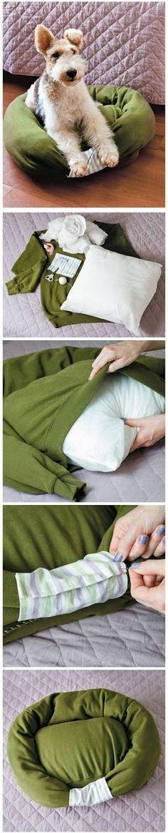For when we have a dog... How to Turn Old Shirt Into New Pet Beds.