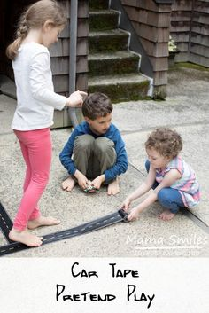I love how this group of cousins turned a single roll of car tape into hours of pretend play! Definitely something to have on hand for the next rainy day!