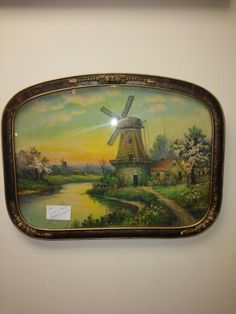 Antique Reverse  Painting  on  Bubble  Glass  of  Dutch Windmill