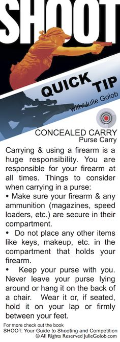 Things to keep in mind when carrying concealed in a purse in this #SHOOTTip from JulieGolob.com