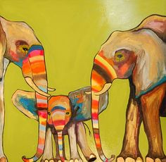 Eli Halpin Oil Paintings - Painted Elephants in Green