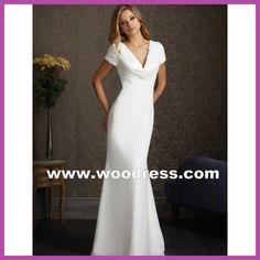 Uma silhueta elegante estilo de vestidos de noiva casamento do Chiffon simples branco 2506