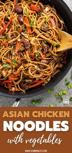 A quick to make Asian Chicken with Noodles - perfect for when you need to make dinner in a short space of time. #SLIMMINGWORLD #WEIGHTWATCHRS Pasta Recipes, Chicken Recipes, Cooking Recipes, Chicken Meals, Ww Recipes, Thai Recipes, Chicken And Vegetable Bake, Meals To Make With Chicken, Slimming Eats