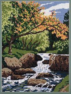 Sew Inspiring : tapestry kit picture kits, 10 holes per inch canvas Cross Stitch Fruit, Cross Stitch Tree, Cross Stitch Charts, Cross Stitch Designs, Cross Stitch Patterns, Cross Stitching, Cross Stitch Embroidery, Tapestry Kits, Cross Stitch Landscape