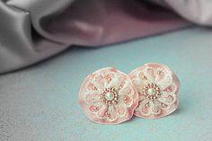 Náušnice - Lace dots - vintage rose - 5175218_