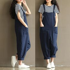 f1c877a5f8e Womens Casual Loose Linen Pants Cotton Jumpsuit Strap Harem Trousers  Overalls US