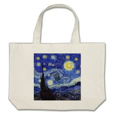 A Starry Night Van Gogh Inspired Doctor Products Large Tote Bag - accessories accessory gift idea stylish unique custom