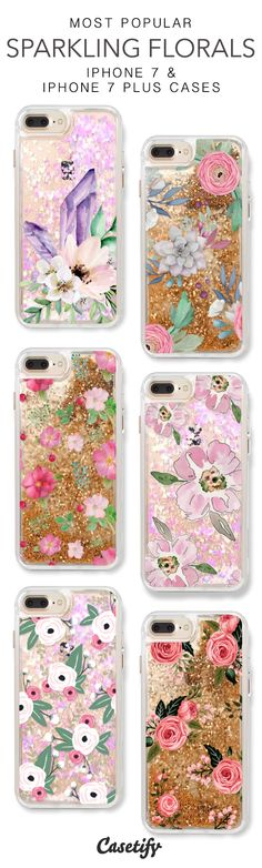 Most Popular Sparkling Florals iPhone 7 Cases & iPhone 7 Plus Cases. More glitter iPhone case here > https://www.casetify.com/en_US/collections/iphone-7-glitter-cases#/
