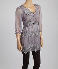 Look at this #zulilyfind! Pretty Angel Gray Lace Tie-Waist Silk-Blend Tunic by Pretty Angel #zulilyfinds