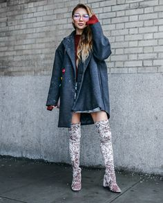 Must-Have Boot Styles You Need Now // NotJessFashion.com // velvet over the knee boots, crushed velvet boots, over the knee boots, oversized menswear coat, pink aviator sunglasses, winter outfit, nyfw outfit, fashion blogger, new york fashion blogger, asian blogger, jessica wang, street style #ootd #fashioninspirations #springoutfit #ootdmagazine #shopmycloset #wiwt #outfits #fashionblogger #otkboots