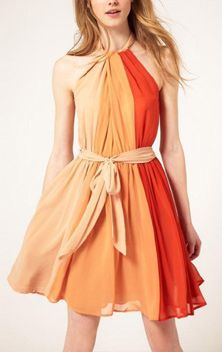 Pleated Chiffon Dress With Contrast Color