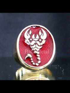 high quality hand polished with dark red enamel dimension of the top: 23 mm x 19 mm Zodiac Rings, Bronze Ring, Scorpion, Sagittarius, Dark Red, Jewelry, Scorpio, Jewlery, Jewerly