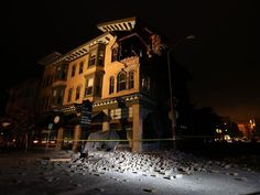 A building is seen destroyed following a 6.0 earthquake in Napa 8.24.14