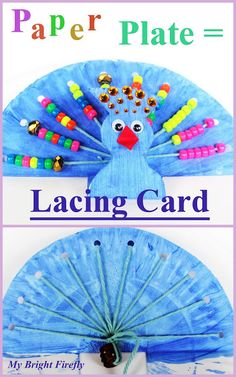Peacock Paper Plate Lacing Card Craft for Kids. Fine motor skills. Peacock Math for preschool and kindergarten: counting and equal quantities, patterns. Kids will love making peacock sounds with this bird!