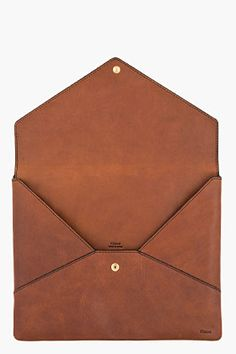 CHLOE Brown leather Envelope iPad Case