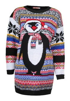 645836a2231 Snowman Ugly Christmas Sweaters · Forever Women s Aztec Penguin Print Neon  Colourful Christmas Jumper Forever http   www.