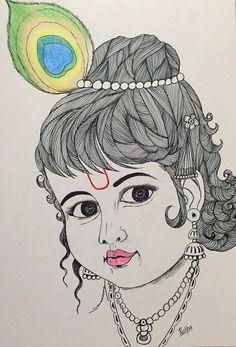 A Pencil Sketch Of Little Krishna Pencil Art Pinterest Pencil