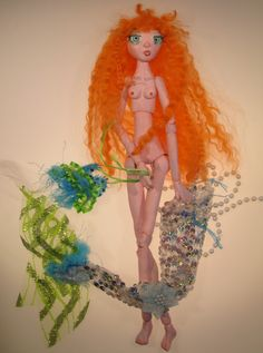 DIAMOND paper clay ball jointed mermaid puppet by Kaeriefaerie52