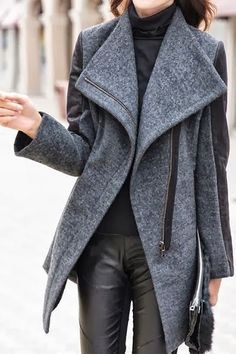 Cozy Dark Gray Leather Sleeves Blazer