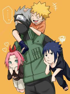 Team 7, Naruto, Sakura, Sasuke, Kakashi, funny, carrying, piggyback, text, young, childhood; Naruto