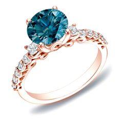 Auriya 14k Rose Gold 1 2/5ct TDW Blue Diamond Solitaire Ring (SI1-SI2)