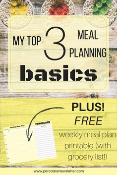 Not sure where to begin with meal planning? Start here with these three meal planning basics and reduce waste, lighten your workload, and cut your grocery bills!