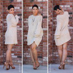 Sweater Dress + Chunky Heels - Mimi G Style